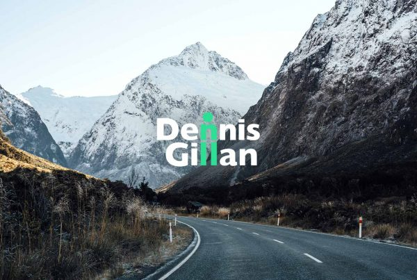 Dennis Gillan logo on mountains
